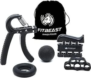 Fortalecedor de agarre de mano Kit de entrenamiento de agarre de antebrazo: paquete de 5, agarrador de mano ajustable, ejercitador de dedos, estirador ...