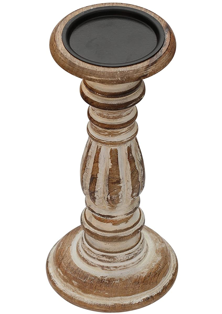 SouvNear Golden Pillar Centerpiece/Votive Holder – 11 Inches Antique Look Decorative Distressed Finished Candle Stand for Fireplace/Wedding / Table Top Accessories, Brown