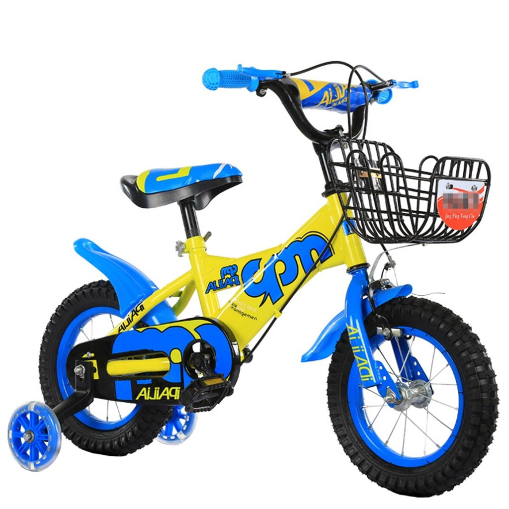 KANGR-子ども用自転車 子供の自転車適切な2-3-6-8男の子と女の子子供のおもちゃアウトドアマウンテンバイクのハンドルバー/サドルの高さは、フラッシュトレーニングホイールで調整できます-12 / 14/16/18インチ ( 色 : 青 , サイズ さいず : 12 inch ) B07BTZPC7J 12 inch|青 青 12 inch