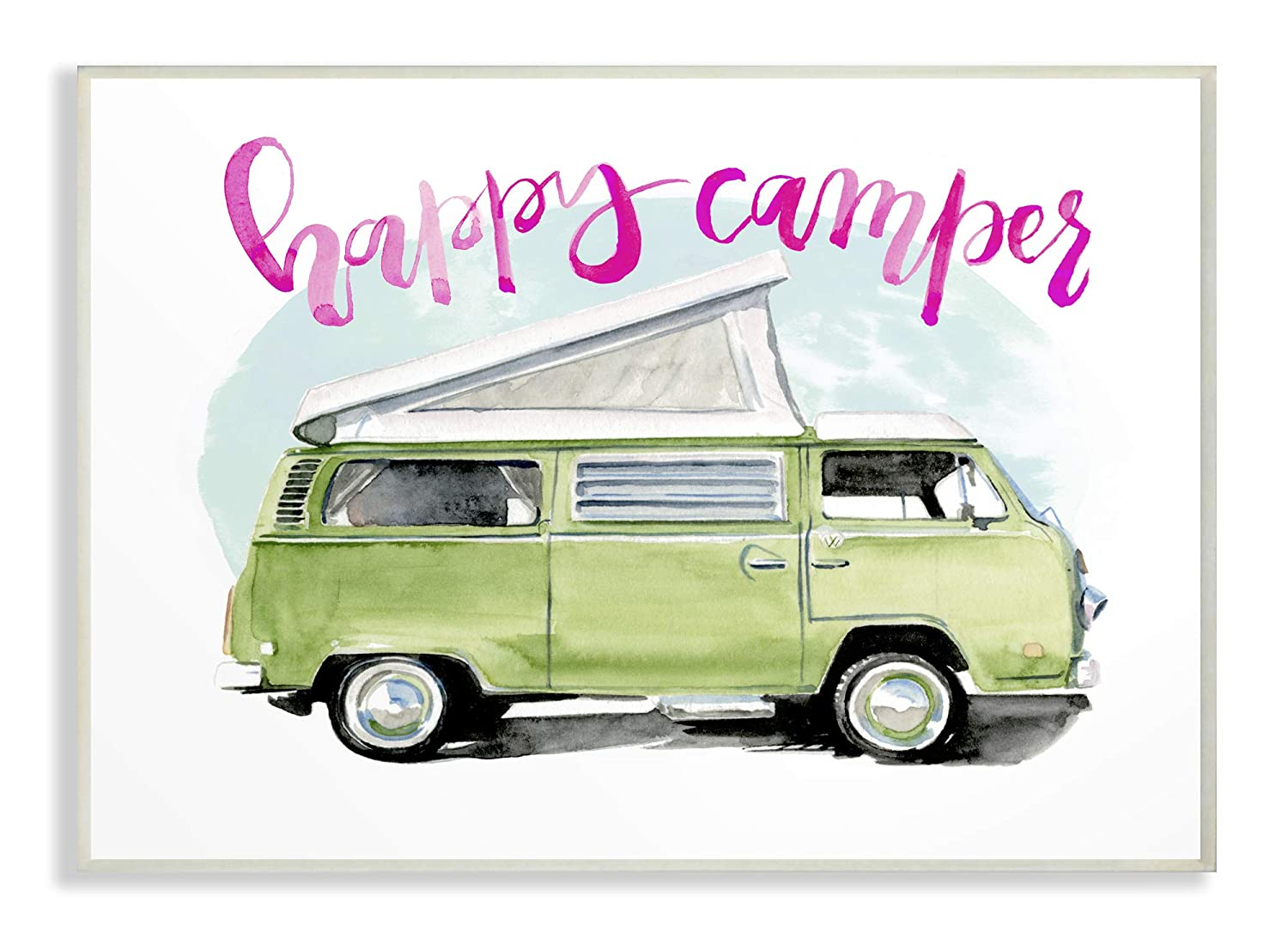 The Stupell Home Decor Happy Lime Green Camper Watercolor Wall Plaque Art, 10 x 15, Multi-Color