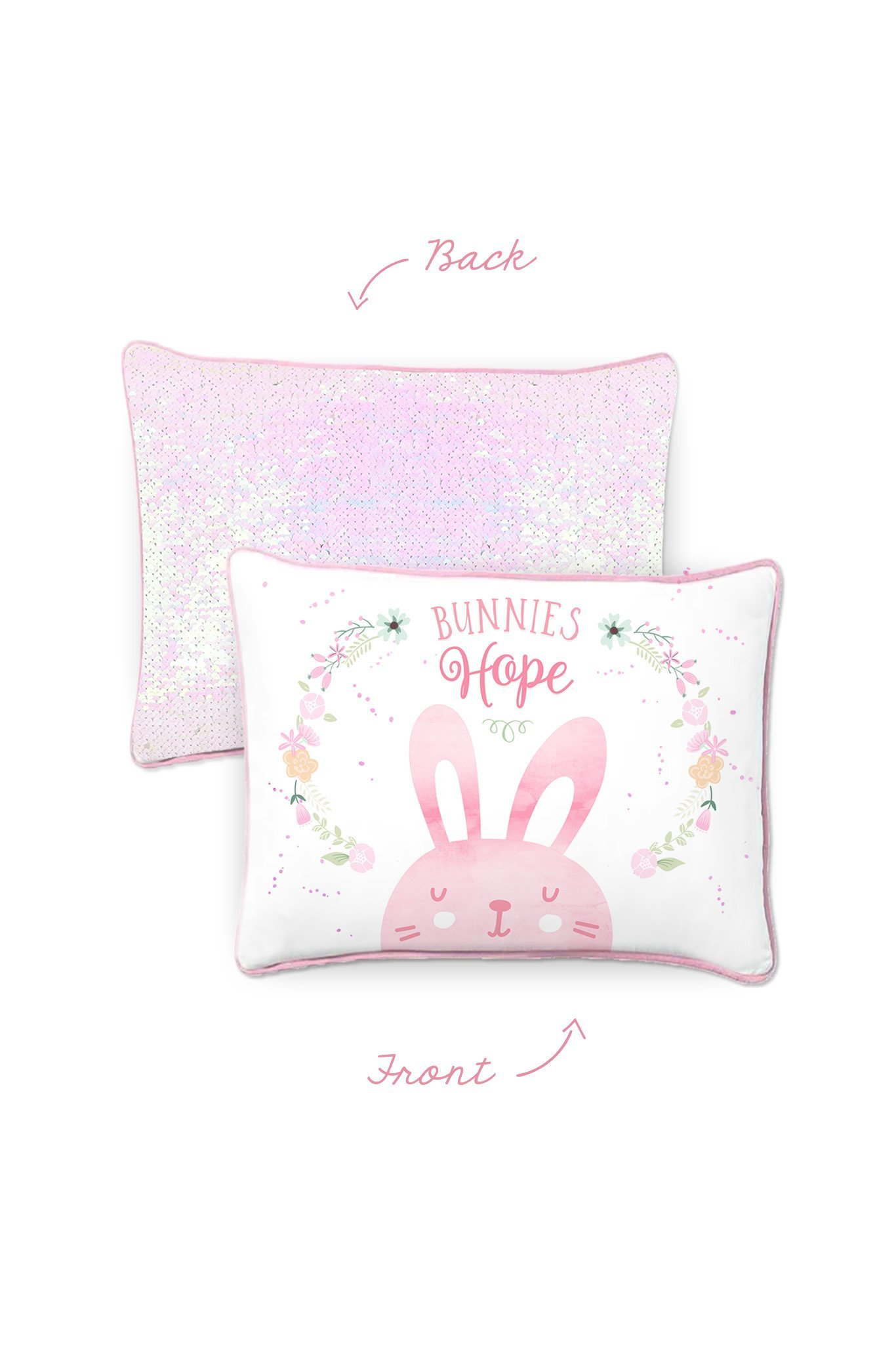 HOPE Bunny Kids Pillow with Reversible Iridescent & Silver Color-Changing Mermaid Sequins