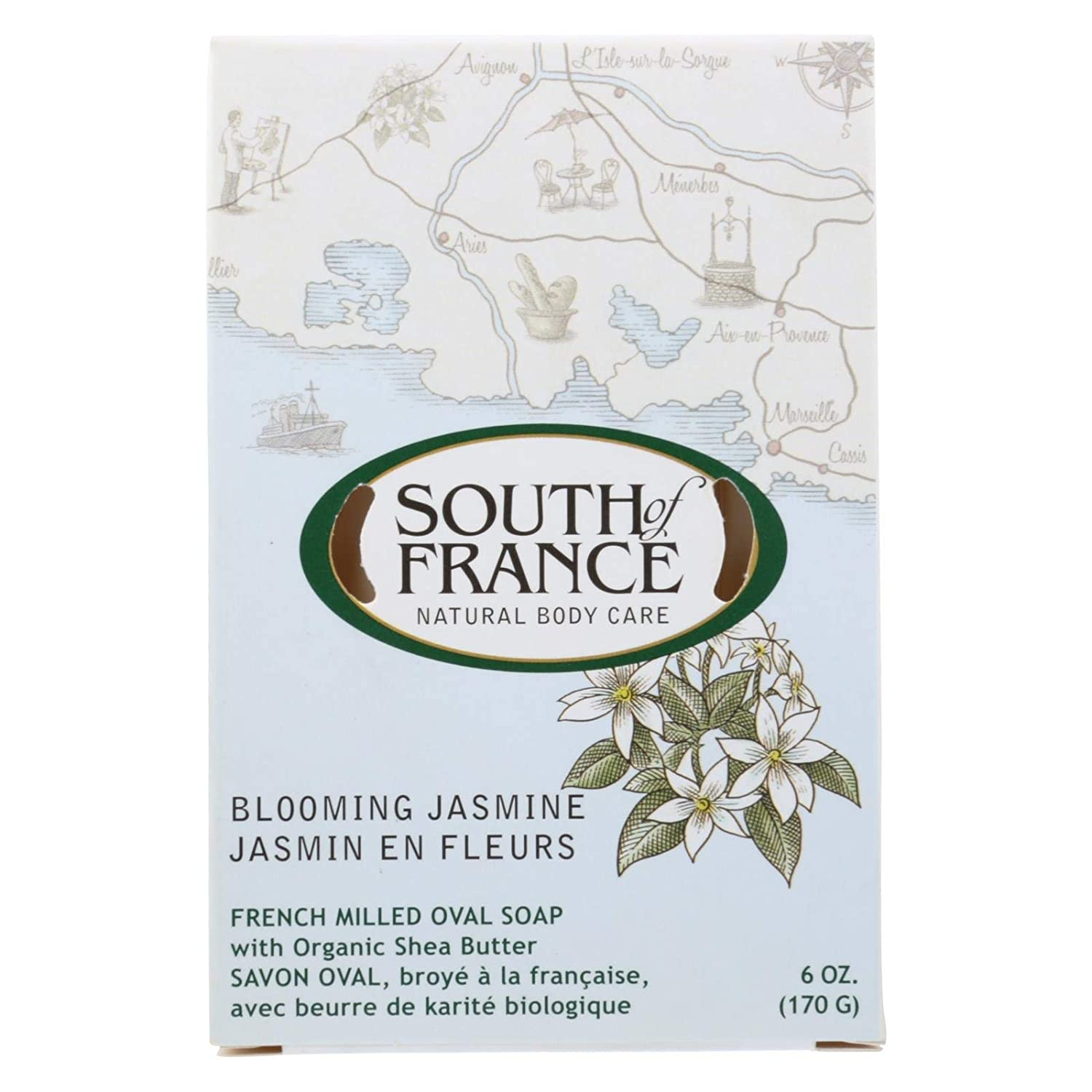 French Milled Oval Soap Blooming Jasmine South of France 6 oz Bar Soap