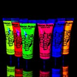 UV Monster Glow Neon Face and Body Paint 10ml - Set of 6 Tubes - Fluorescent