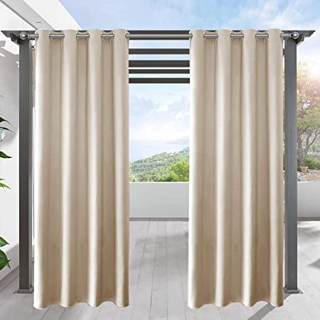 Lifonder Blackout Pergola Shade Blind Indoor Outdoor Patio Privacy Screen Curtain Thermal Insulated Porch Drape For Deck Decor With Grommet Top Cream Beige 52 Width By 84 Length 1 Pack Amazon In Garden