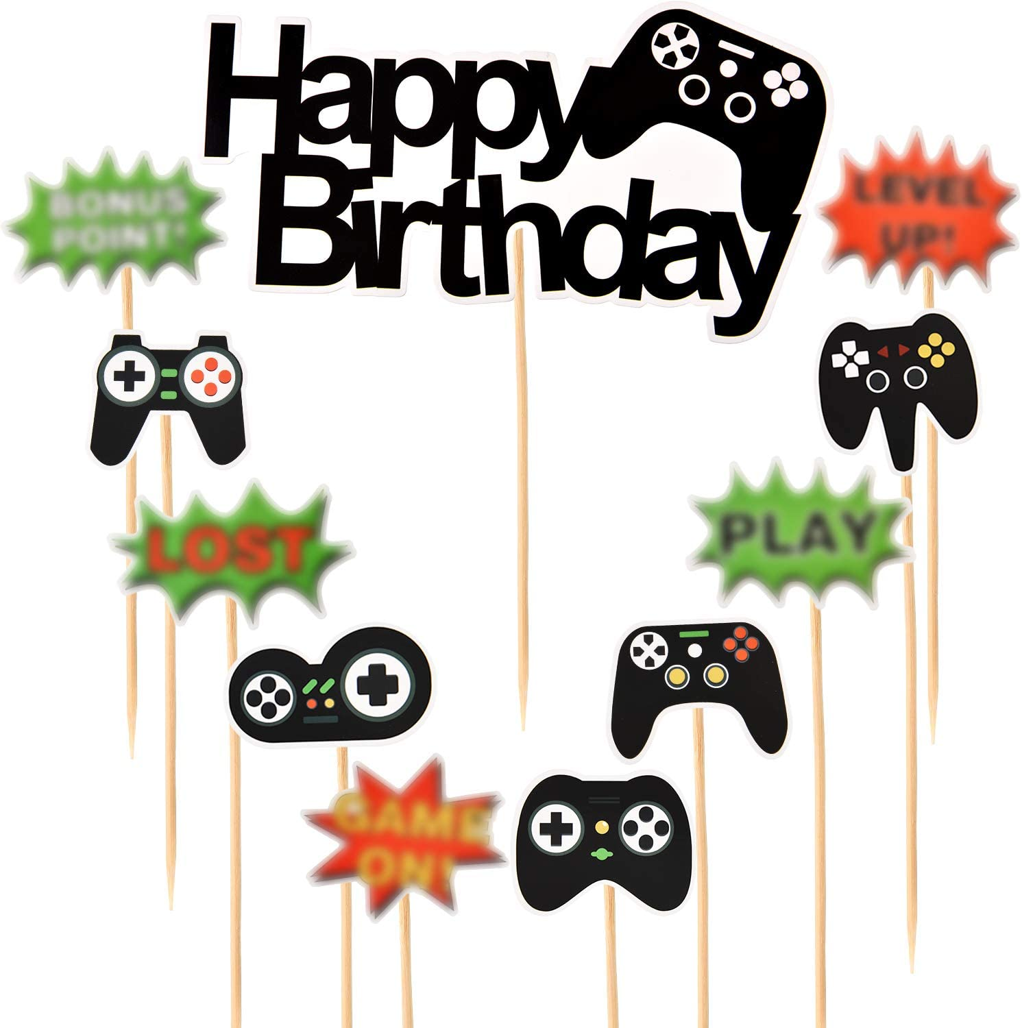 3 Sets Video Game Party Cupcake Toppers Happy Birthday Video Gaming Topper Theme Birthday Party Supplies Decoration Set, Including Wooden Sticks and Glue