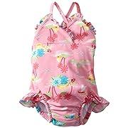 7cf4a2c4ed Baby Girls' Ultimate Swim Diaper Triangle Tanksuit, Light Pink Hawaiian, 6  Months