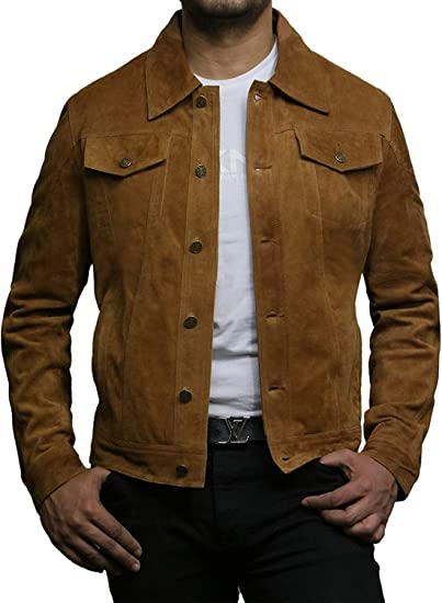 Men/'s Trucker Casual Tan Goat Suede Leather Shirt Jeans Jacket