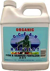 Fish and Seaweed Fertilizer from Ocean Harvest | Organic Plant Food Made from Fish Hydrolysate and Organic Kelp Liquid Seaweed | Organic Fertilizer for Vegetables | 1 QT