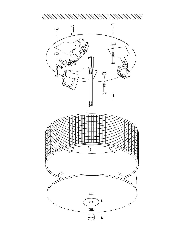 Material: Stahl /Ø: 47,5 cm Stoff EGLO Deckenlampe Pasteri Fassung: E27 Glas Farbe: Nickel matt 3 flammige Textil Deckenleuchte taupe
