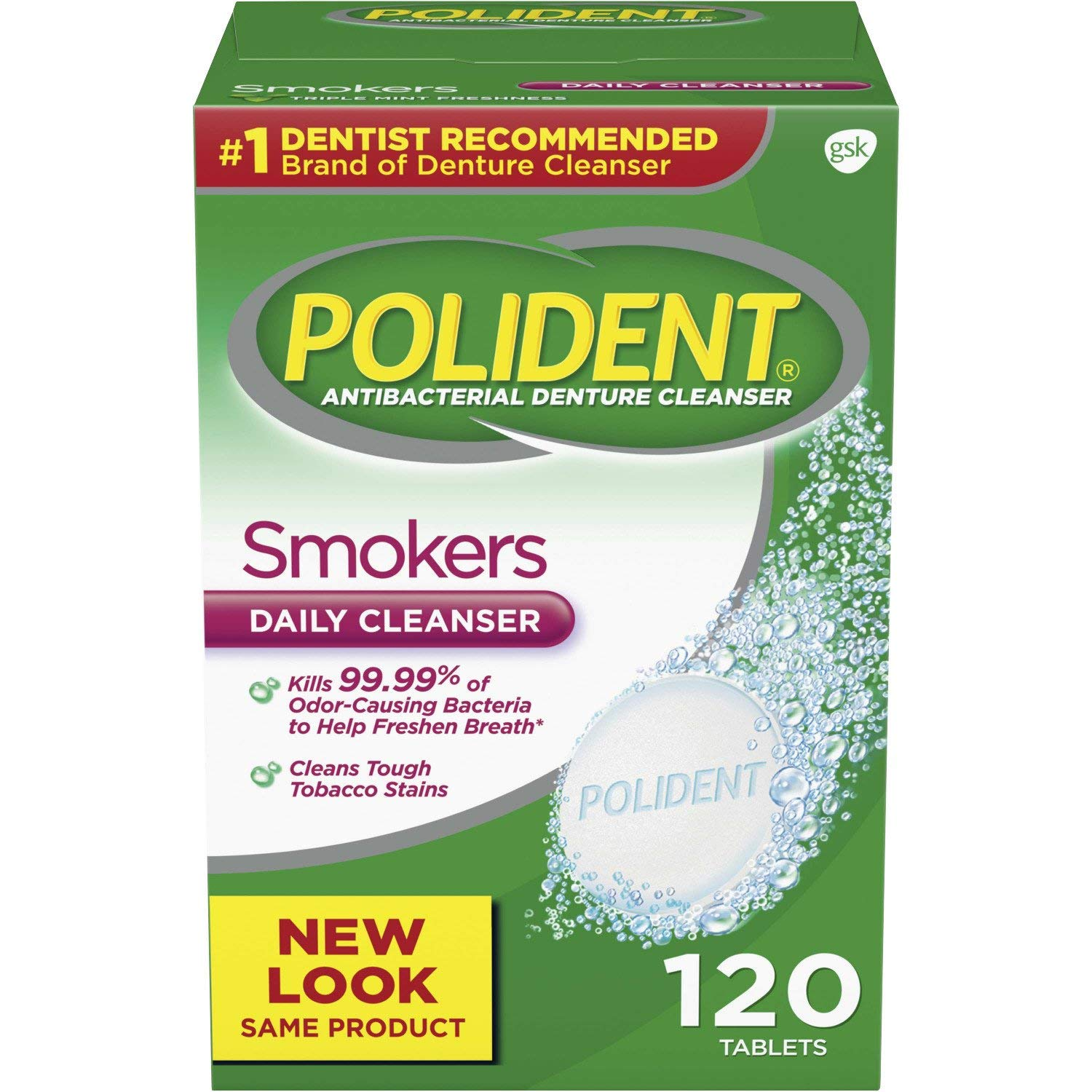 Polident Smokers Antibacterial Denture Cleanser Effervescent Tablets, 120 count: Beauty