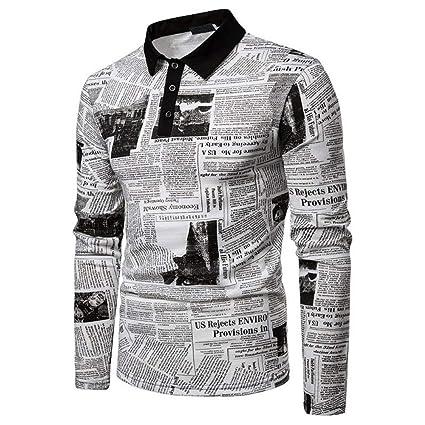 NISHIPANGZI Impresión de periódicos Modal Hombre Camisa de Polo de ...
