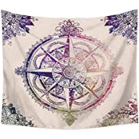 FEOYA Tapiz Retro Compass Tapestry Beige Tapestry Colgante