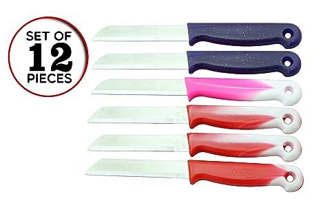 SMI - 12 Pcs Solingen Cuchillo Vegetal Profesional, Cuchillo Fruti, Cuchillos de Cocinero, Cuchillo de Cocina Acero Inoxidable, Utensilios de Cocina
