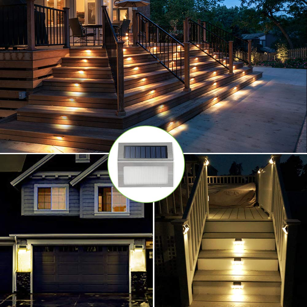 Solar Deck Lights, KASUN Super Bright LED Walkway Light Stainless Steel Waterproof Outdoor Security Lamps for Patio Stairs Garden Pathway (Yellow Light - 12PCS) by KASUN (Image #2)
