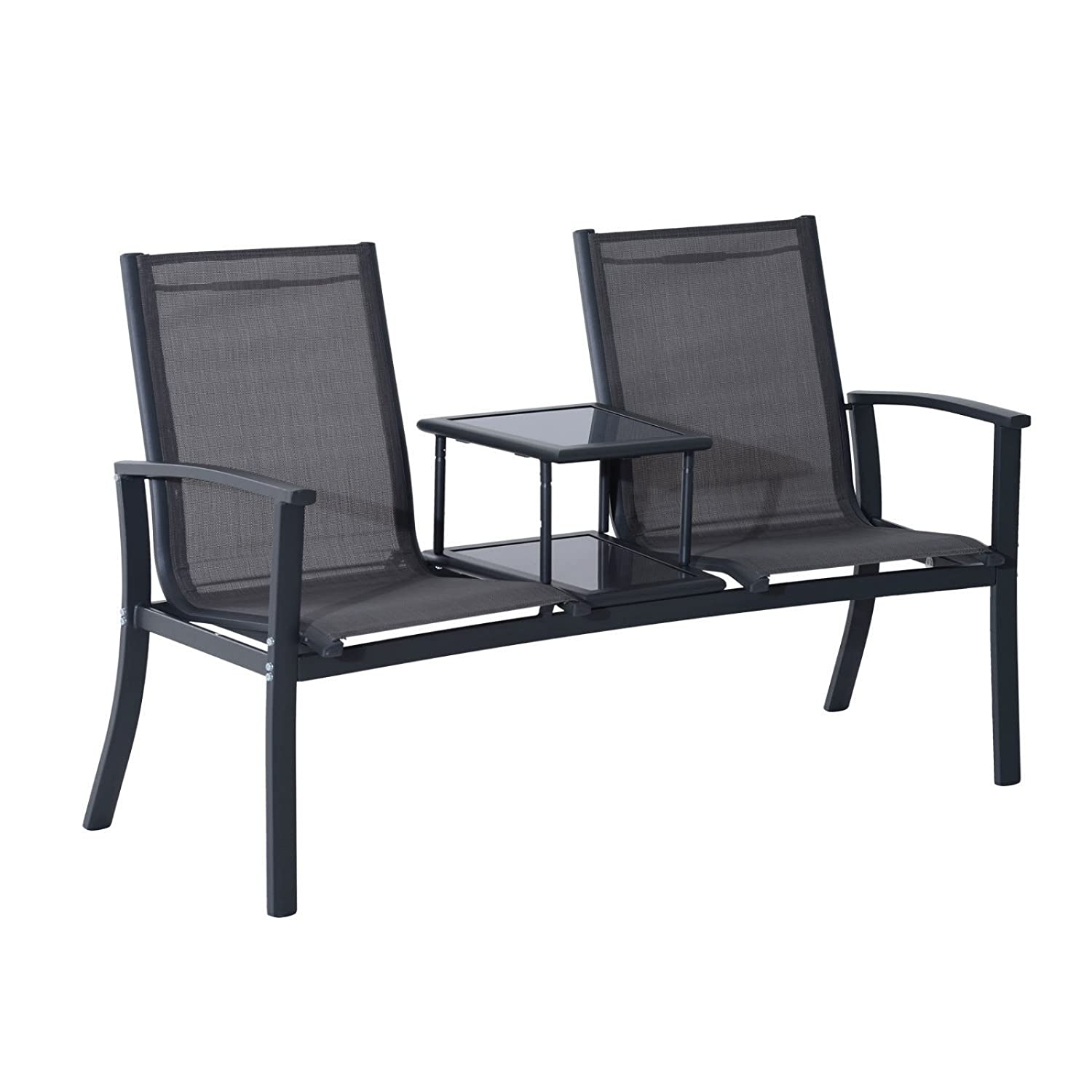 Outdoor Double Seat Bench Patio Chair Mesh Aluminum Park Garden Furniture W/ Elevated Table #705d