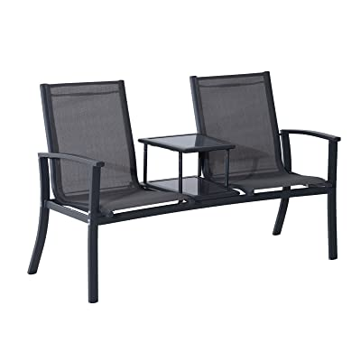 Amazon Com Outsunny 2 Person Outdoor Mesh Fabric Patio Double Glider Chair W Center Table