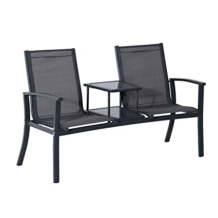 Admirable Amazon Com Outdoor Double Seat Bench Patio Chair Mesh Gmtry Best Dining Table And Chair Ideas Images Gmtryco