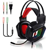 Stereo Gaming Headset for PS4 PC Xbox One Controller Noise Cancelling Over Ear Headphones with Mic RGB LED Light Bass Surroun