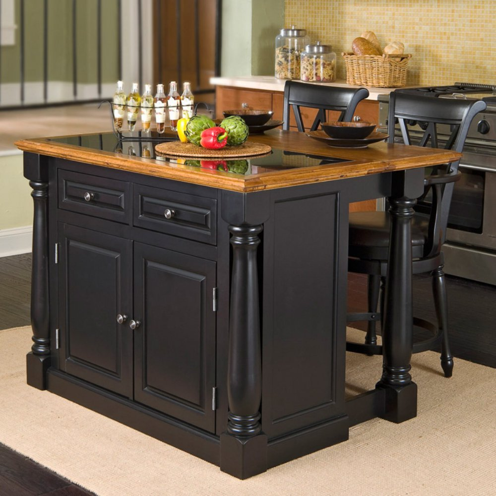 Amazon.com: Home Styles Monarch Slide Out Leg Kitchen Island with ...