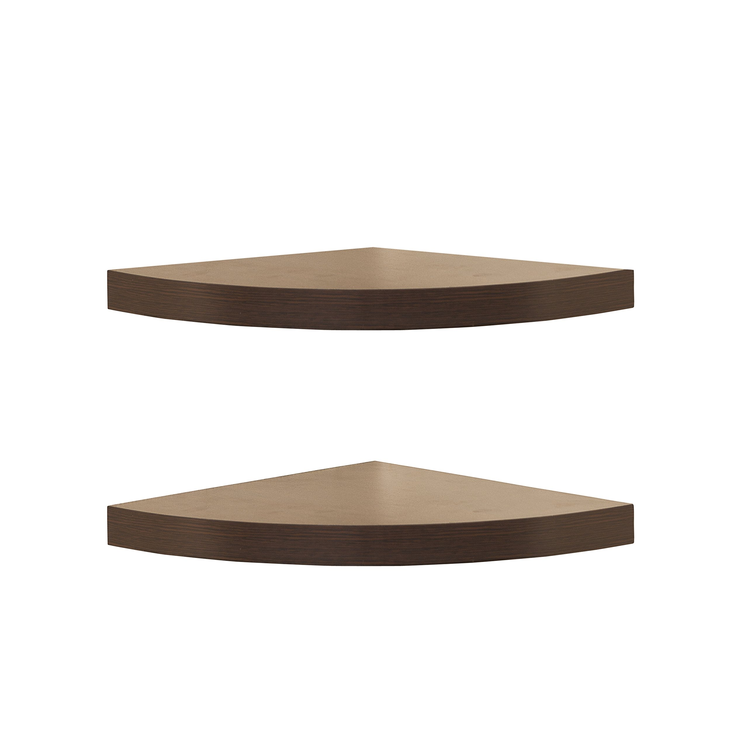 Danya B. XF11115-2 Small Floating Wall Mount Rustic Laminate Wood Corner Wall Radial Shelves (Set of 2) - Walnut