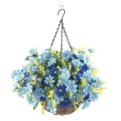 Lopkey Artificial Daisy Flowers Outdoor Indoor Patio Lawn Garden Hanging Basket with Chain Flowerpot,Blue: Garden & Outdoor