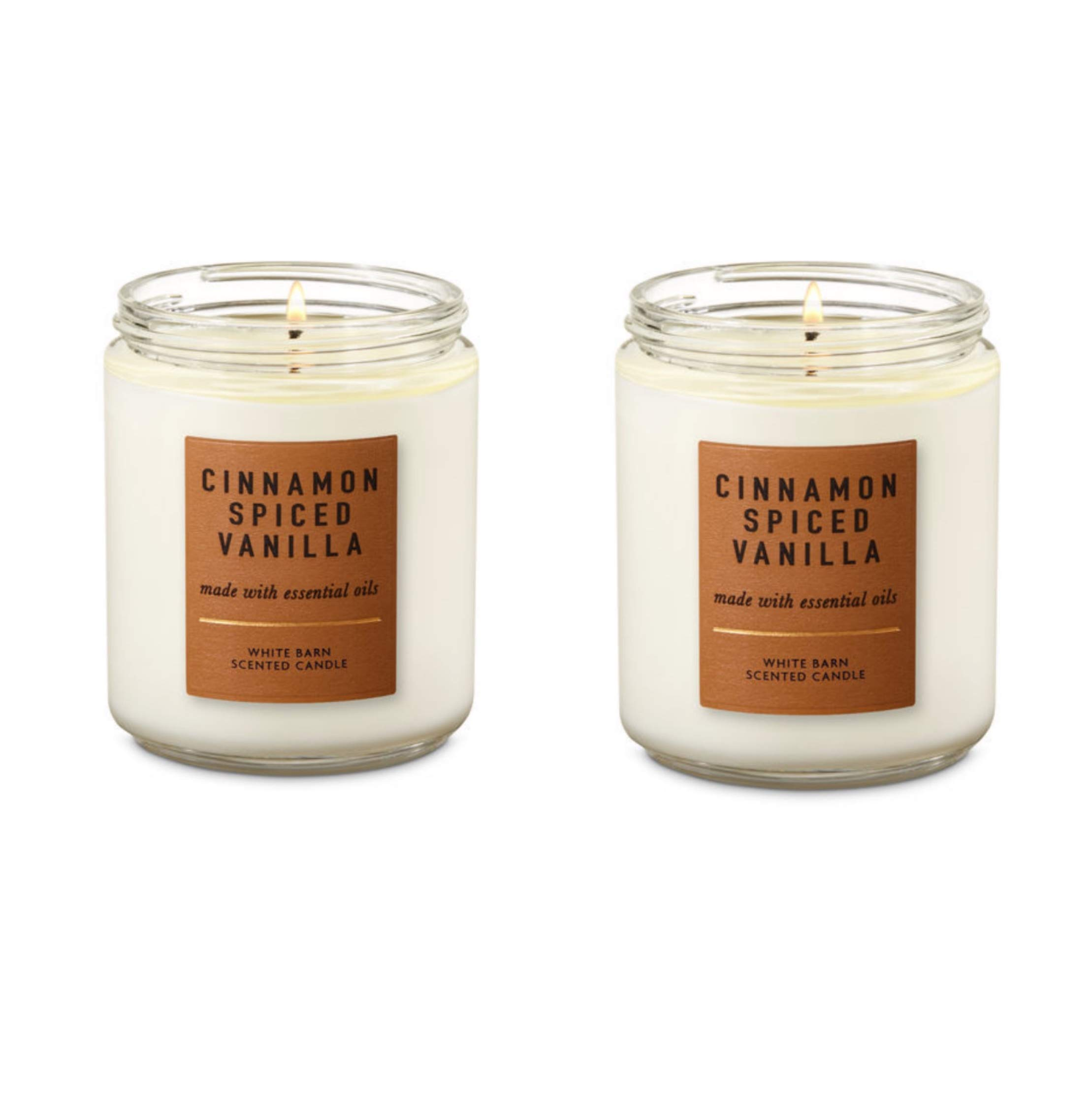 Bath and Body Works 2 Pack Cinnamon Spiced Vanilla Single Wick Candle. 7 oz.