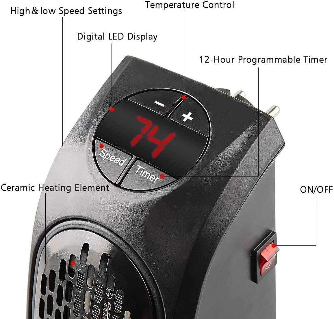 Heure 12h Oscillation Automatique 2 Chauds et 1 Froid Param/ètres T/él/écommande Mural Imperm/éable pour Salle de Bain PTC C/éramique /Électrique Radiateur Soufflant