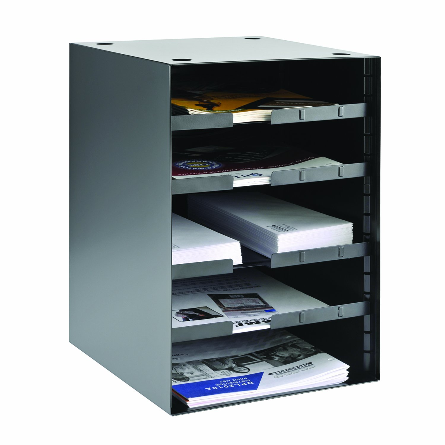 STEELMASTER 5-Tier Organizer with 4 Adjustable Shelves, 11.22 x 19.62 x 12.01 Inches, Black (206511004) by MMF Industries