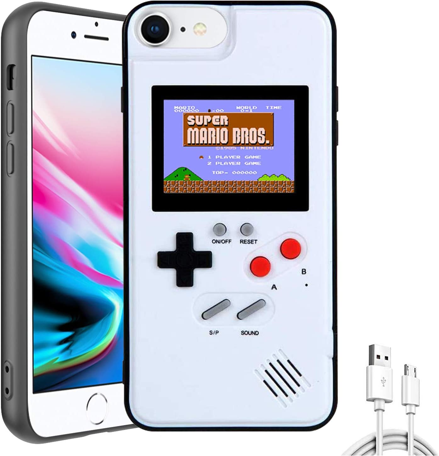 Autbye Gameboy Case for iPhone, Retro 3D Design Style Silicone Protective Case with 36 Small Games, Color Display Shockproof Video Game Phone Case (for iPhone 6/7/8/6S, White)