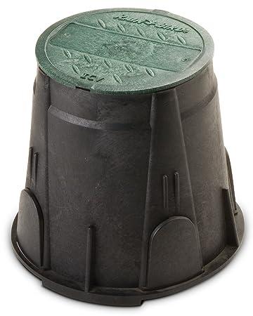 Amazon rain bird vbrnd7 round sprinkler valve box black rain bird vbrnd7 round sprinkler valve box black with green lid 7quot sciox Images