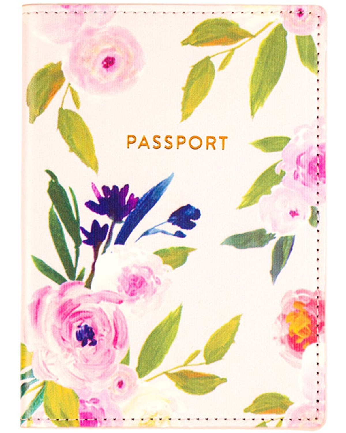 Eccolo Travel Passport Cover Case with Storage Pocket (Floral)