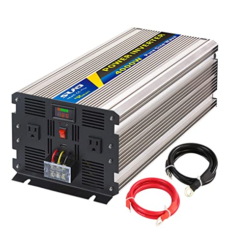 Sug 4000W(Peak 8000W) Power Inverter Pure Sine Wave DC 24V to AC 110V 120V  Converter Back up Power Supply for RV, Home, Car Use