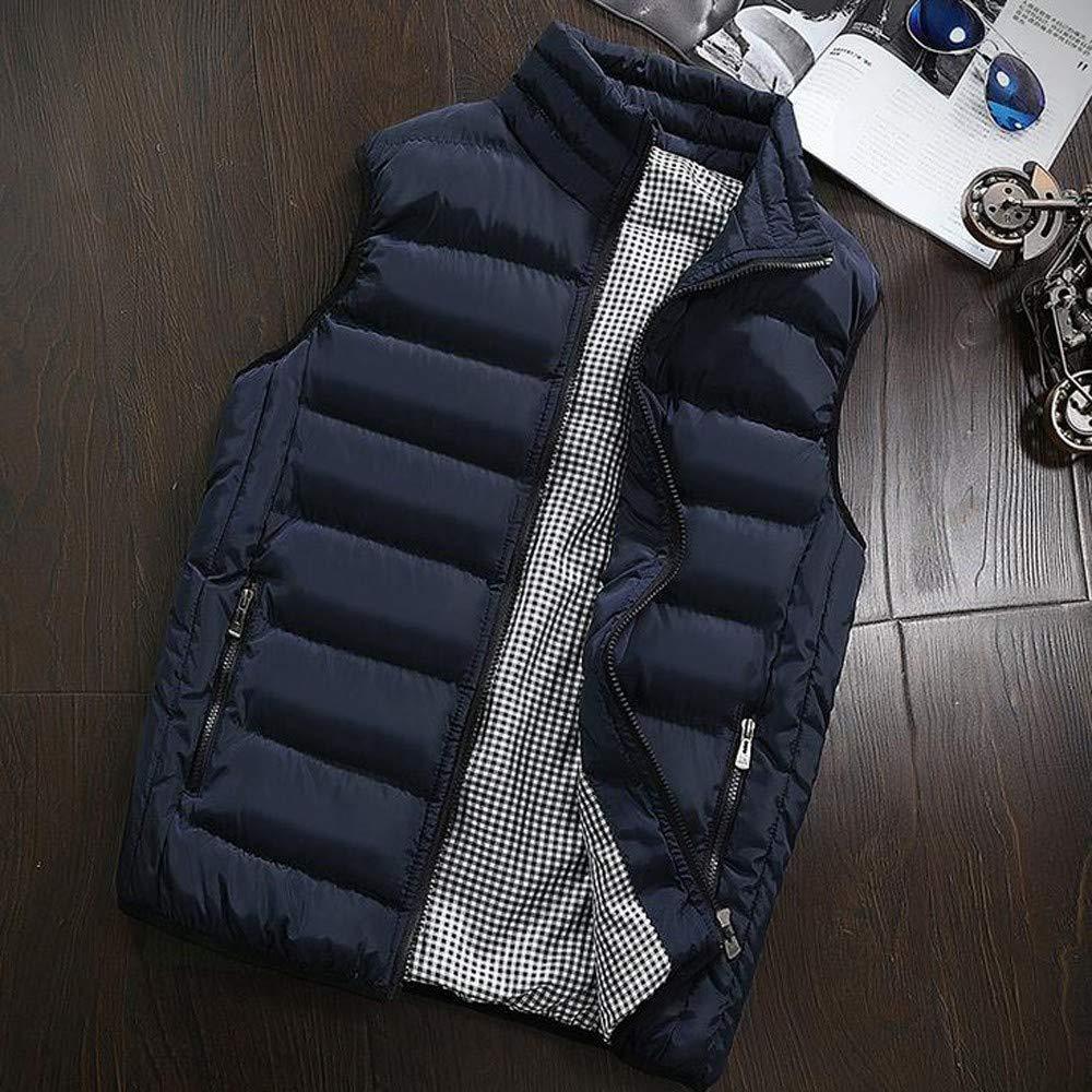 Kobay Hommes Automne Hiver Manteau Coton Rembourr/é Gilet Chaud /À Capuche /Épaisse Tops Veste