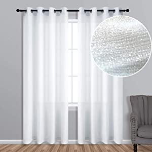 KOUFALL White Sparkle Curtains 63 Inch Length for Bedroom Decor 1 Panel Grommet Silver Metallic Glitter Window Drapes Textured Linen Thick Sheer Curtain for Kitchen Room Teen Girls Nursery 52x63 Long