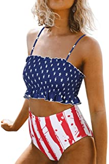 b7aa6eb6f5485 ZESICA Women's Summer Floral Printed High Waist Ruched Smocked Beach Bikini  Sets Swimsuit Bathing Suit