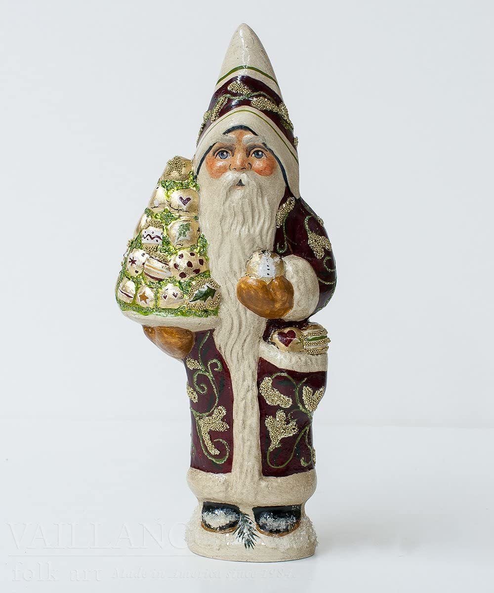 Vaillancourt Folk Art Brocaded Coat Santa with Gold Ornaments