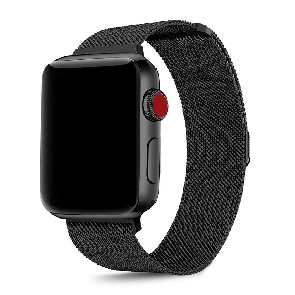 OROBAY Compatible for Apple Watch Band 42mm, Stainless Steel Milanese Loop Adjustable Magnetic Closure Replacement iWatch Band Compatible for Apple Watch Series 3 Series 2 Series 1, Black by OROBAY (Image #2)