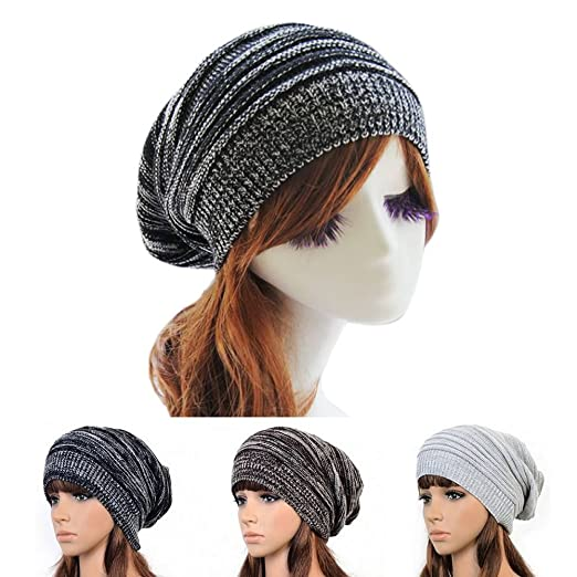 e7ca41ef586 AStorePlus Unisex Oversized Baggy Slouchy Knit Beanie Cap Thick Warm Winter  Beanie Hat Chunky Soft Stretch