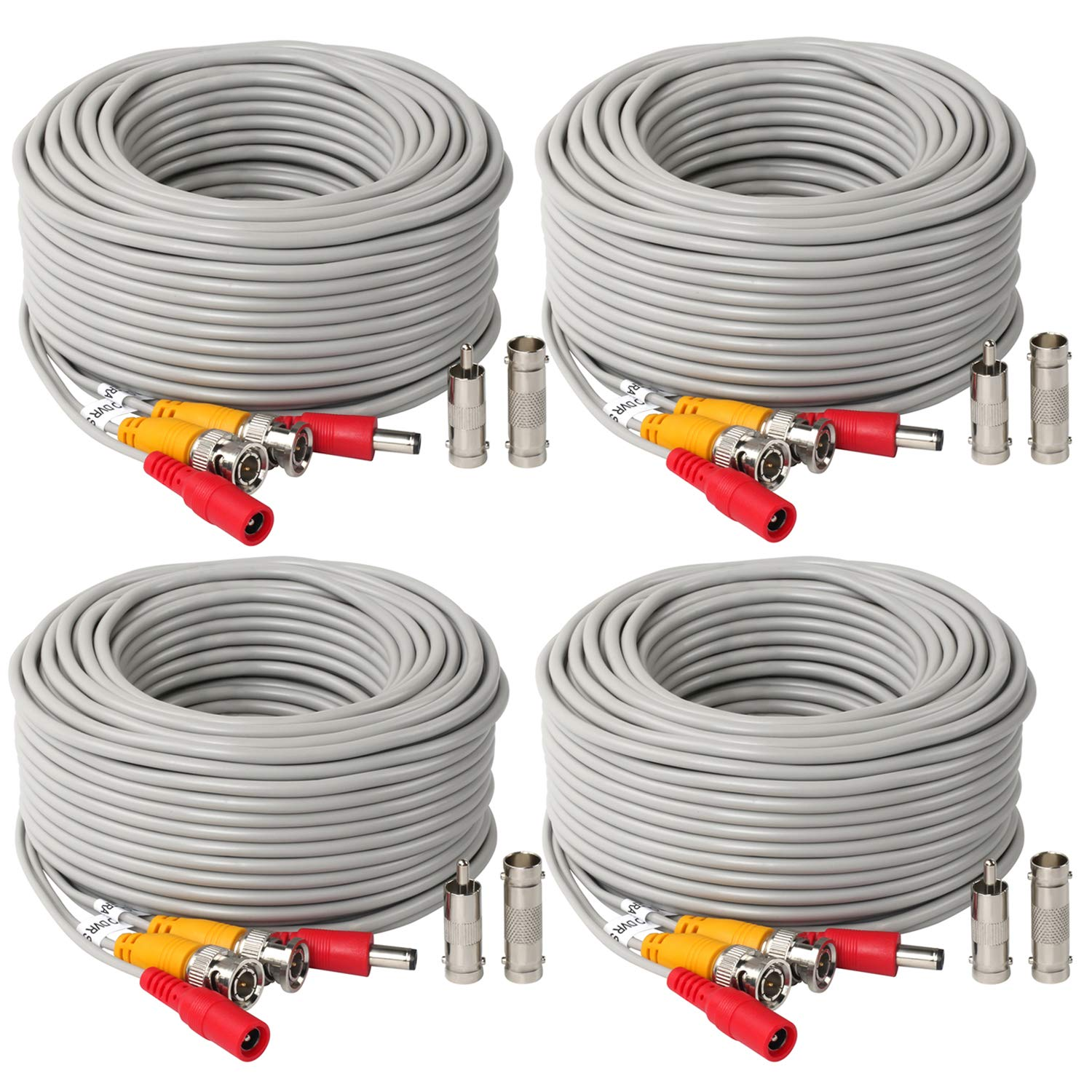 4Pack 150Feet BNC Vedio Power Cable Pre-Made Al-in-One Camera Video BNC Cable Wire Cord Gray Color for Surveillance CCTV Security System with Connectors(BNC Female and BNC to RCA) by SHD