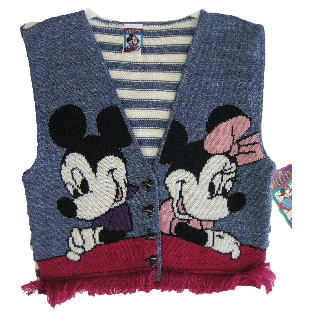 Disney Little Girls Navy Blue Mickey Minnie Friinged Hem Knit Vest 16