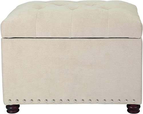 Decent Home 24 inch Fabric Storage Ottoman Lift Top Rectangular Foot Rest Stool