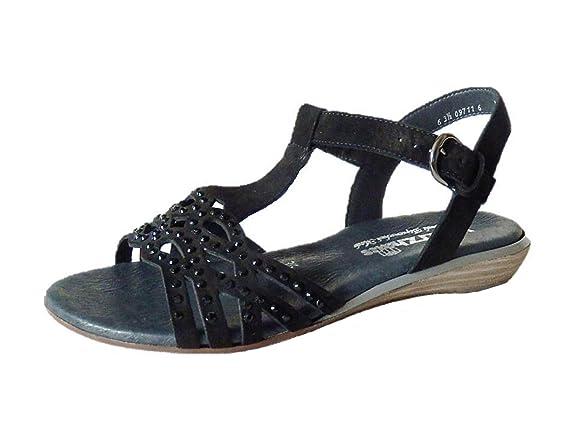 Semler Gloria Damen Knöchelriemchen Sandalen mit Keilabsatz Weite H