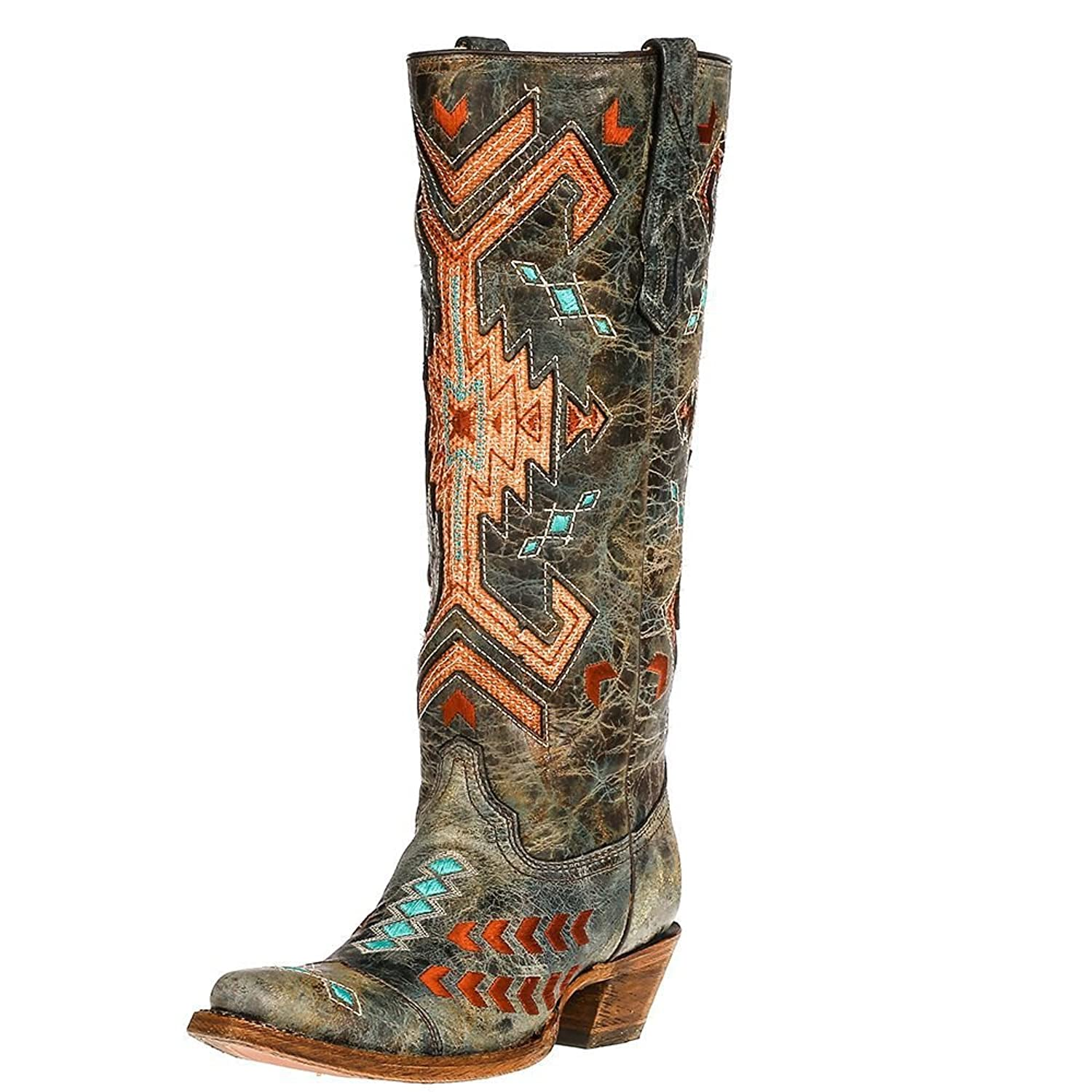 Corral Boot Company Womens Black Multi Color Jute Inlay 14 Top Turquoise