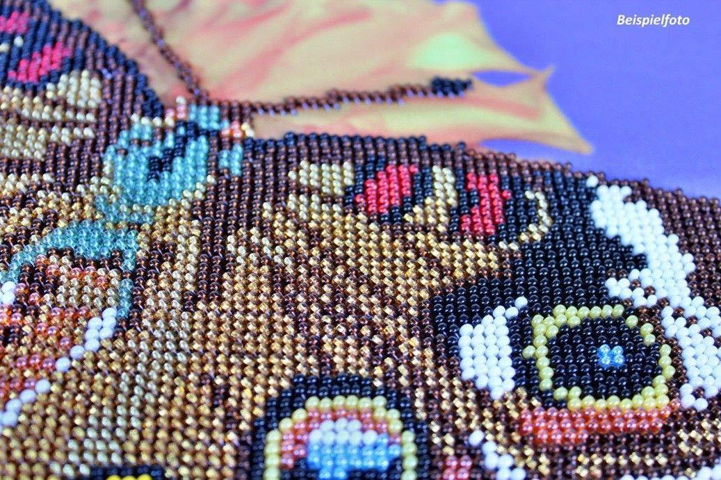 Knyaginya Olga Stickbild mit Perlen komplette Stickpackung W/ölfe Tiere 31x40 Stickset Stickerei Set Handarbeit Stickvorlage vorgedruckt vorgezeichnet Bild zum selber Sticken SKV-2