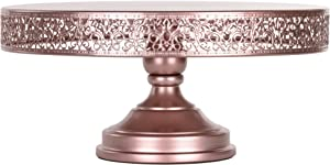 Amalfi Decor Cake Stand, Large Round Metal Pedestal Holder, Rose Gold, 16 Inches