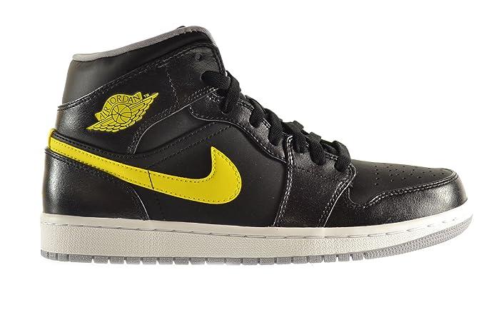 Air Jordan 1 Mediados Zapatos Para Hombre Gris / Amarillo Vibrante-lobo Negro 554724-070