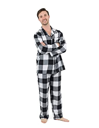 Leveret Mens Pajamas Flannel Pjs 2 Piece Christmas Pajama Set Black White  Plaid Size Small 5f0a43f45