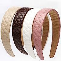 LONEEDY 4 diademas de piel a cuadros anchas y duras acolchadas, antideslizantes, a la moda, para niñas y mujeres…