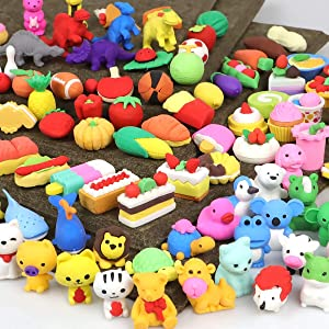 POKONBOY 100Pcs Animal Pencil Erasers for Kids, Mini Puzzle Erasers Take Apart Novelty Erasers for Party Favor Carnival Gifts and Games Prizes