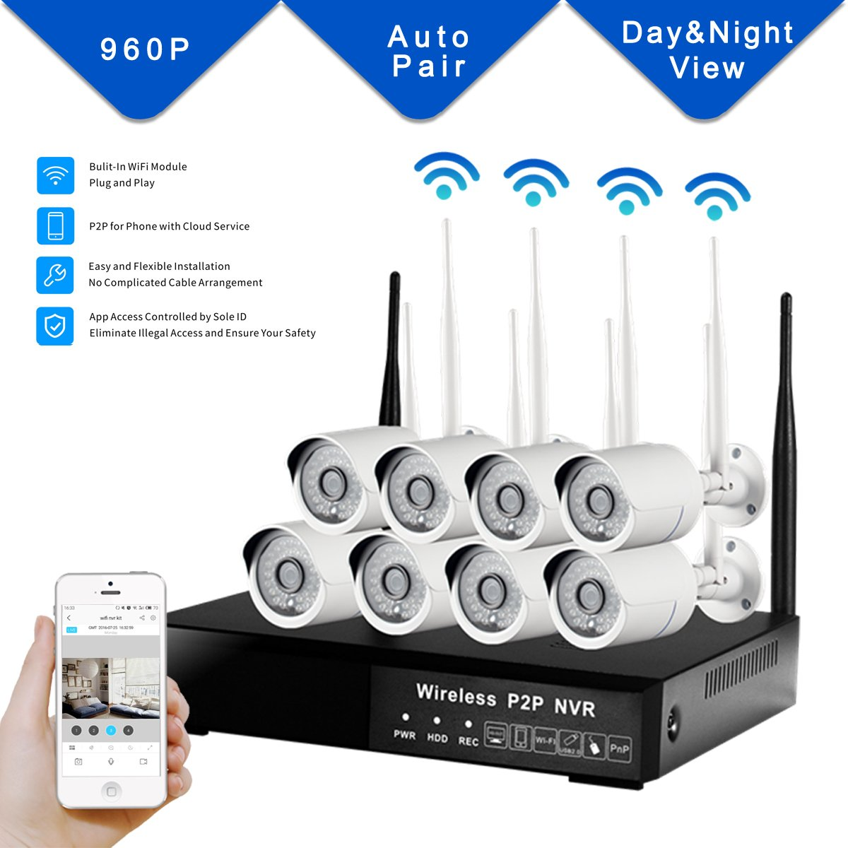 DOHAOOE All-in-One Hi3535 8CH NVR 1.3MP 500M WiFi Range Waterproof IPC WiFi Kit 960P Wireless Input Outdoor Network Home Surveillance Security Camera System